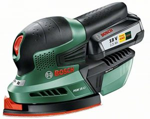 """Bosch Ponceuse multifonction """"Expert"""" sans fil PSM 18 Li, 1 batterie 18V 2,5 Ah, 3 feuilles abrasives, technologie Syneon 06033A1303 de la marque Bosch image 0 produit"""