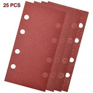 Feuilles abrasives pour ponceuse vibrantes Grain 40 60 80 120 lot de 25 papier abrasif 8 trous 18.2x 9.2cm de la marque tropicalboy image 0 produit