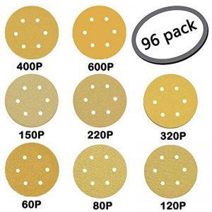 """GuTen 96PCS 6"""" 150 mm 6 Trous Glod Détails de la souris Ponceuse orbitale Papier abrasif Papier abrasif Crochet et boucle sans poussière Assortiment d'adhésifs 60/80/120/150/220/320/400/600 Grits de la marque GuTen image 0 produit"""