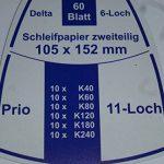 Lot de 120 feuilles abrasives auto-agrippantes de 105 x 152 mm-Pour ponceuse multifonction comme par exemple Prio-Mélange de grains: 40, 60, 80, 120, 180 et 240 de la marque ag-tools image 2 produit