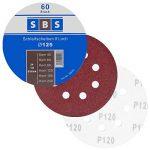 SBS Lot de 60 disques de ponçage à fixation en Nylonpour ponceuse excentrique Ø 125 mm Grain abrasif de 40/60/80/120/180/240 (10 disques par taille de grain) de la marque SBS image 2 produit